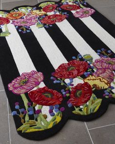 MacKenzie-Childs Poppy Field Rug handmade and hand sculpted of wool and viscose. Mackenzie Childs Inspired, Mckenzie And Childs, Decoupage, Floor Cloth, Boho Home, Hand Tufted Rugs, Rug Hooking, Decoration, Porches
