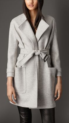 burberry. wool belted wrap coat. #fashion