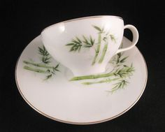 Orient China Bamboo Tea Cup Set Made In Japan