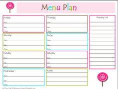 Free Menu Planner!  Menu Planning: Saving Time & Money in the Kitchen  #free #menu  #planner