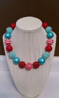 Aqua and Red Rhinestone Big Bead Bubble Gum Necklace, Turquoise Bubblegum Necklace, Aqua Chunky Necklace, Kids Turquoise Necklace