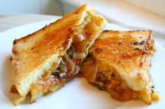 Caramelized onions deglazed with beef broth turn this grilled cheese into a French onion soup sandwich.