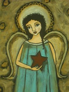 Folk Art Primitive Angel With Star Acrylic by PrimitiveCloset, $35.00