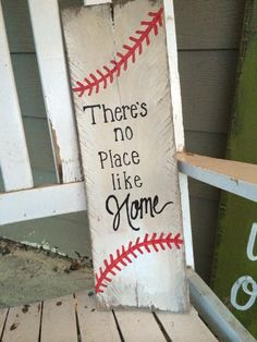 baseball sign Rustic There's no place like by SplendorInTheRoeIeushusu3jrjdgouwdiehdueHDjfriiro30ugh