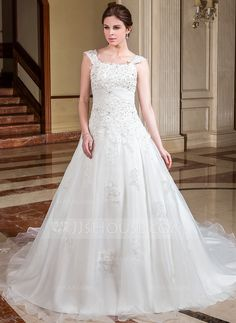 A-Line/Princess Square Neckline Cathedral Train Organza Satin Wedding Dress With Ruffle Lace Beading (002012933)