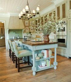 Love the painted cabinets, island, and light fixture