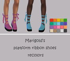 Simsworkshop: Platform Ribbon Shoes Recolors by maimouth • Sims 4 Downloads