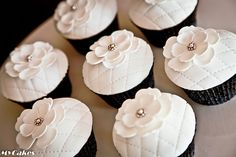 White Quilted Flower Cupcakes