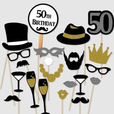 Birthday Men Fiftieth Birthday Party Fifty Photobooth Props Photo Booth Kit Set of Gold Silver Collection with Foil Pieces Fifty Birthday, Adult Birthday Party, Birthday Crafts, Man Birthday, Birthday Wishes, Birthday Invitations, Fiftieth Birthday, Birthday Cake, Photo Booth Anniversaire