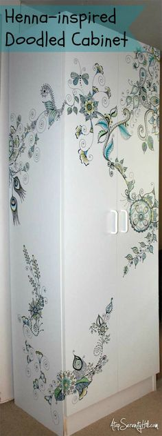 Henna-inspired doodles on cabinet « Atop Serenity Hill #henna #infinitymarkers
