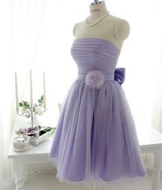 Special Custom Made Strapless Knee Length Tulle Bridesmaid Dress,Short Simple Prom Dress,Little Lavender Dress,Vintage Bridesmaid Dress. #93 or 29