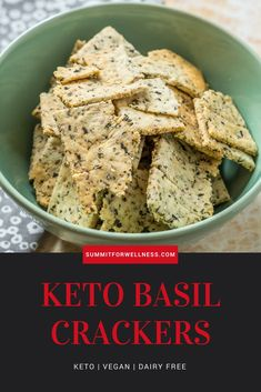 Enjoy this easy 4 ingredient Keto Basil Crackers recipe that is gluten free, dairy free, keto, and vegan