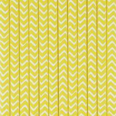 25 pailles chevrons jaunes