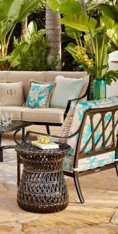 The perfect garden party. That's what Grayson calls to mind. This timeless seating collection is elegant without being fussy. | Frontgate: Live Beautifully Outdoors