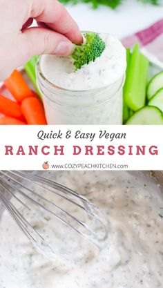 This vegan ranch dressing is easy to make in just 5 minutes. It is the perfect dipping sauce for salads and veggies! It's nut-free, creamy, and delicious! Ranch Dressing Ingredients, Vegan Ranch Dressing, Peach Kitchen, Quick Easy Vegan, Vegetarian Comfort Food, Vegan Mayonnaise, Homemade Ranch, Vegan Cheese, Nut Free