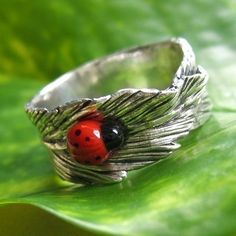 Banana Leaf Fine Silver Ring with Ladybug by TZTUDIO on Etsy, $58.00