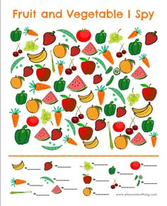 Fruit and Vegetable I Spy Game (free; from The Pleasantest Thing) Fruit and Vegetable I Spy Game (free; from The Pleasantest Thing) Nutrition Activities, Preschool Activities, Preschool Food, Travel Activities, Fruit And Veg, Fruits And Vegetables, Veggies, I Spy Games, Memory Games