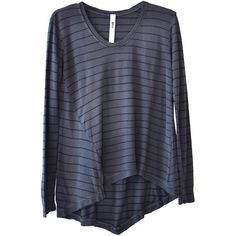 Wilt Gray Striped Twisted Scoop Neck Top ($115) ❤ liked on Polyvore
