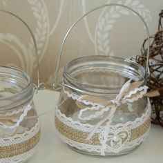 Two Large Hessian and Lace Hanging Jam Jar's Baby Food Jar Crafts, Mason Jar Crafts, Mason Jars, Fall Arts And Crafts, Diy And Crafts, Formula Can Crafts, Lace Jars, Wedding Jars, Jar Centerpieces