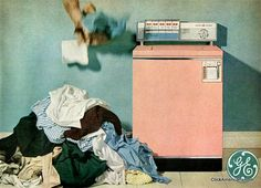 Vintage advertisement for a GE General Electric Pink washer. Vintage Advertisements, Vintage Ads, Vintage Images, Washing Machine And Dryer, Washing Machines, Vintage Appliances, Vintage Laundry, Classic Home Decor, Clothes Line