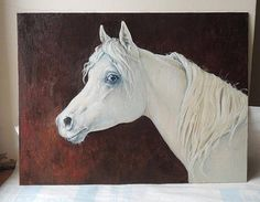 White horse portrait. Oils. Equine art.