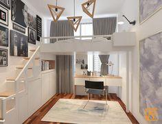 New kitchen loft design bedrooms Ideas Condo Interior Design, Condo Design, Loft Design, House Design, Design Design, Small Room Bedroom, Bedroom Loft, Small Rooms, Bedroom Decor