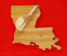 Just received my cute Louisiana cutting board...love it! ...got my heart cut over my hometown instead of Baton Rouge as in this pic.