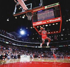 Michael Jordan puts on a display during the 1988 Slam Dunk Contest.