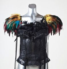 Exotic Tropical Feather Epaulettes Carnival Pageant Burlesque Couture BIRD OF PARADISE