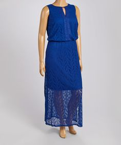Cobalt Lace Overlay Maxi Dress - Plus by London Times #zulily #zulilyfinds