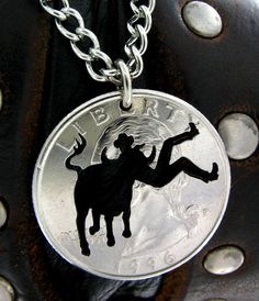Struggling to hold on Bull rider hand cut coin by NameCoins, $29.99