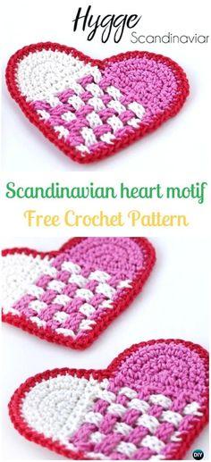 Crochet Scandinavian Heart Motif Free Pattern - Crochet Heart Applique Free Patterns