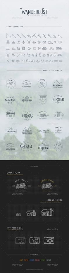 Adventure Icons Vintage Logo Pack by pratamaydh Wanderlust is a vintage outdoor life icon and logo set inpired by nature, wildlife activities. This pack include high detailed cra Map Logo, Typography Logo, Logo Branding, Icon Design, Logo Design, Graphic Design, Design Files, Design Art, Map Icons