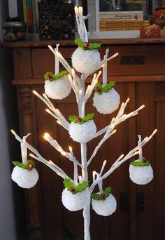 Pom Pom Christmas Decorations Snowball Pompoms Holly Pompom by Cassiopeia Knit Designs, UK    #christmas #christmasdecor #snowball #holly #christmastree