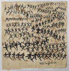 이응노,군무3,34.5x35cm,종이에수묵,1985