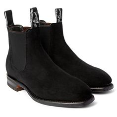 R.M.Williams Comfort Craftsman Suede Chelsea Boots (€440) via Polyvore featuring men's fashion, men's shoes, men's boots, mens suede boots, mens suede shoes and mens suede chelsea boots