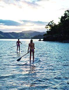 Paddle boarding in serenity
