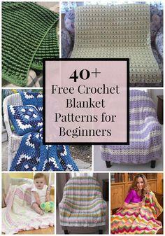 40+ Free Crochet Blanket Patterns for Beginners #CrochetBlanketsEasy