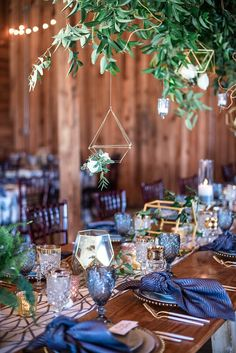 Boho Meets Modern in this North Georgia White Barn Wedding | The Perfect Palette Eternal Flame, Gold Table, White Barn, Bohemian Bride, Shades Of Blue, Boho Wedding, Greenery, Georgia, Table Settings