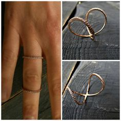 14K Solid Gold Double Ring Twisted Circle Ring w by SoCoolCharms