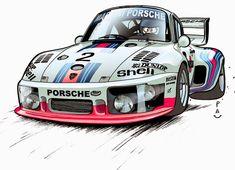 935 Porsche 911, Cool Car Drawings, Porsche Motorsport, Car Illustration, Illustrations, Car Posters, Car Sketch, Automotive Art, Japanese Cars