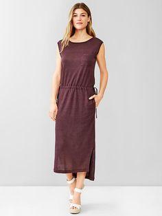 Linen drawstring midi dress