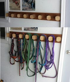 """Easy to make halter / bridle rack - 1 x 6 and landscape tie (cut 4"""" in length). Measure even spaces and fasten with screws from the back."""