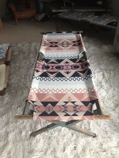 Vintage Indian Cot - Pink Black Tan White Pendleton Blanket Vintage Military Wooden Cot - super sturdy