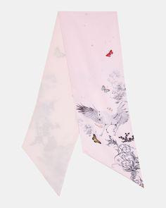 e04b76e68151b8 Ted Baker Enchanted Dream skinny scarf Pale Pink Skinny Scarves