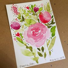 """92 Likes, 3 Comments - Shawna Clingerman (@shawnaclingerman) on Instagram: """"Playing with flowers and leaves again tonight #shawnas100days #100daysofwatercolor…"""""""
