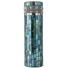 Features:  -Constructed from hundreds of pieces of blue and teal mosaic glass.  -Innovative Led lights inside the vase.  -Waterproof LED vase.  Product Type: -Table vase.  Shape: -Cylinder.  Color: -B