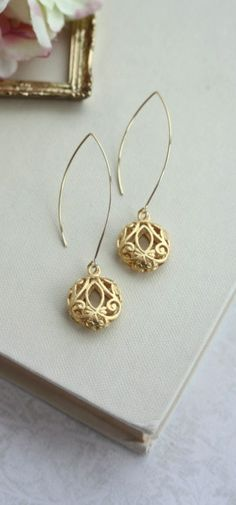 Gold Puffy Round Filigree Earrings. Wedding, Bridal Jewelry, Bridesmaid Gift. Gold Filigree Boho Wedding By Marolsha
