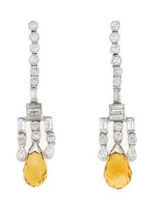 A pair of citrine and diamond earrings  citrine briolettes measuring approximately: 11.5 x 7.3 and 10.0 x 6.3mm; estimated total diamond weight: 1.50 carats; mounted in eighteen karat white gold