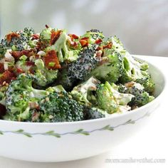 Easy, Low Carb Bacon Broccoli Salad is a popular crunchy side perfect for lunch, brunch and a dinner side.   low carb, gluten-free, dairy-free, Paleo, Keto   lowcarbmaven.com